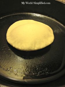 cooking pita bread