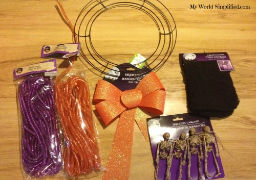 supplies for spooky wreath
