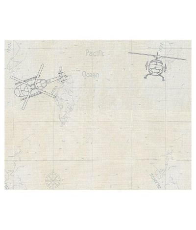 Buy Wallpaper 4 Less Wall Covering Kids White & Blue Helicopter Wallcovering- 171 sq.ft. Online ...