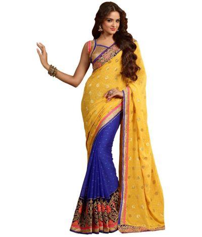 7 Colors Lifestyle Yellow Bhagalpuri Silk Saree - Buy 7 ...