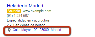 Extensiones de anuncio Adwords ubicacion