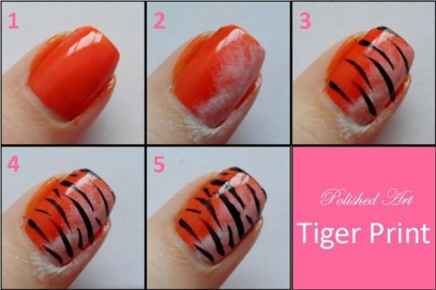 Тигр на ногтях пошагово