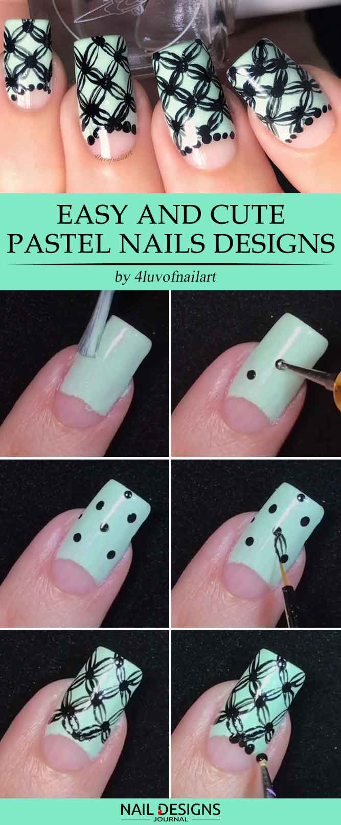 15 super easy nail designs diy tutorials crazyforus easy nail designs with hand painted pattern prinsesfo Gallery