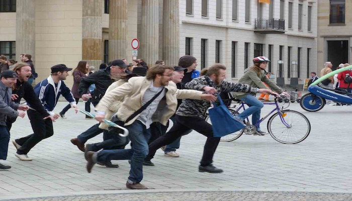 White people running away