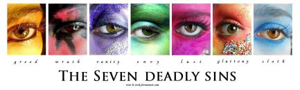 each of the seven deadly sins depicted by an eye that has makeup in a different color to reflect the deadly sin