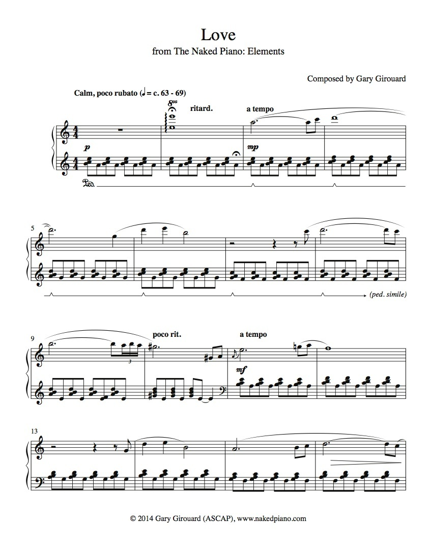 """Love"" Solo Piano Sheet Music (from the Naked Piano Elements)"