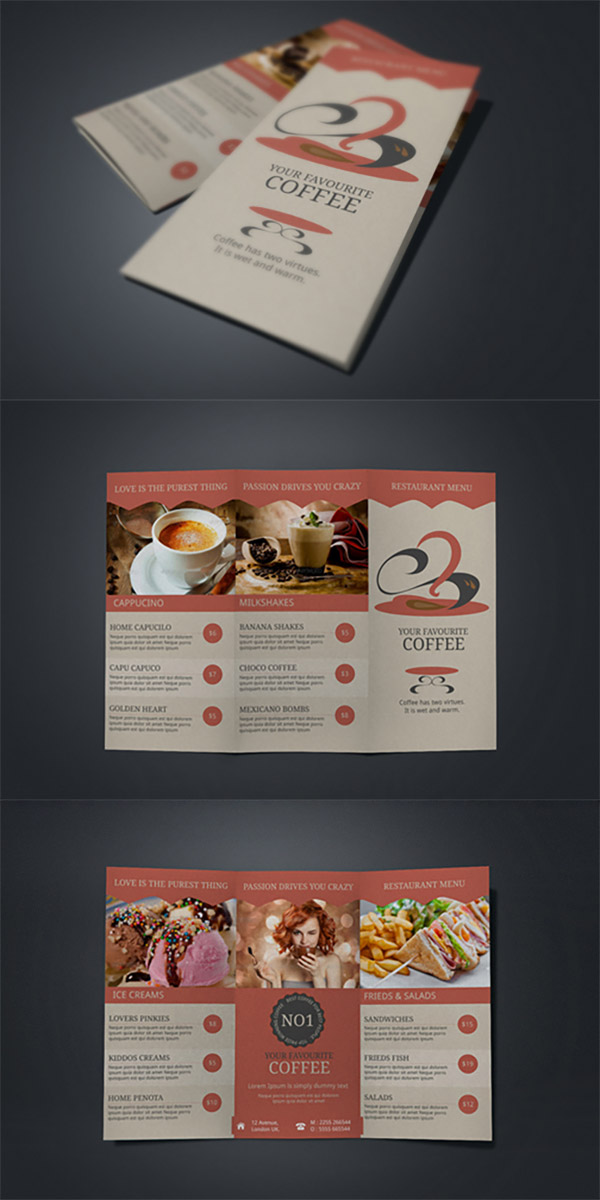 15 Refreshing Coffee Shop Brochure Designs   Naldz Graphics coffee menu brochures
