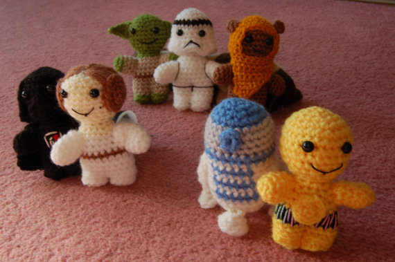 Knitted Star Wars - £8.64 each from Etsy Perhaps the cutest of all Star Wars toys. These handmade toys come in all sorts of variations and if there is a character you really want but isn't listed you can contact the artist to request one. Princess Leia as Boushh for me please.