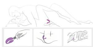 Uma haste vibra sobre o clitóris, outra alcança o ponto G dentro do canal vaginal e ainda proporciona sensações pro pau.
