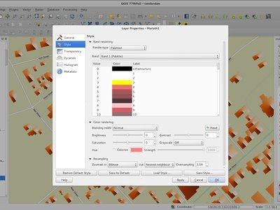 O suporte de rótulos nas paletas de arquivos Raster no QGIS 2.2