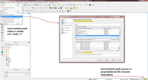 Configurando osistema de projeção do QGIS
