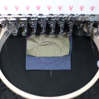 Layer with conductive fabric in a way that it does not overlap with the place where the bottom contact point connection.
