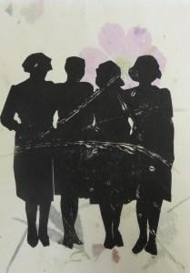 "Juliet Mevi, Sisters, 2016, 9x12"", linocut print on handpulledpaper, Oakland, CA"