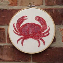 8 inch embroidery hoop art Crab, Sealife, Freehand machine Embroidery, Embroidery Hoop, Textile Art, Crab, Sea Life, Fabric, Wall Hanging, Room