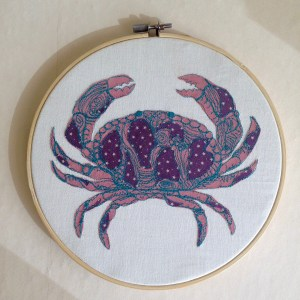 cosmo crab freehand embroidery