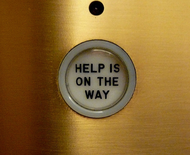 Help is on the way, elevator, Chicago Tribune, Chicago, IL.JPG by Cory Doctorow on flickr