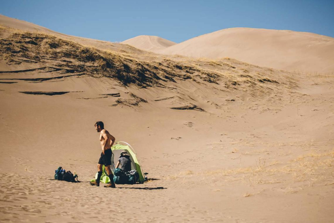 We backpacked into the dunes for the full experience. The stillness is breathtaking.