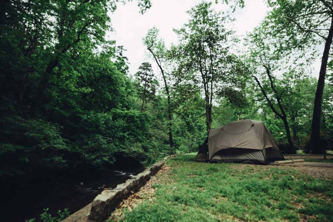 We tend to set up the larger tent for several days, it's nice not to take down and set up every day. At Gulpha Gorge, Hot Springs NP.