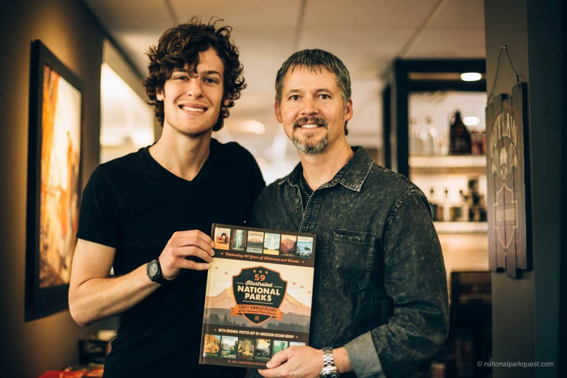 Nathan and Joel Anderson displaying the 59 Illustrated National Parks coffee table book