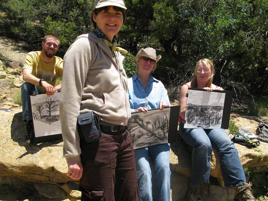 Teaching a drawing class at Mesa Verde National Park