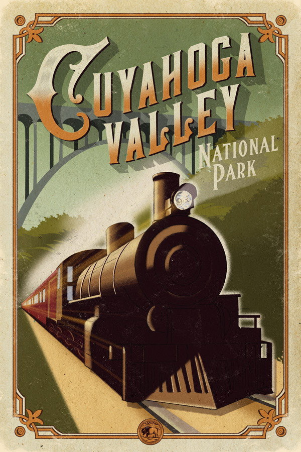 The latest Centennial Poster: #14 - the grand Cuyahoga Valley train.