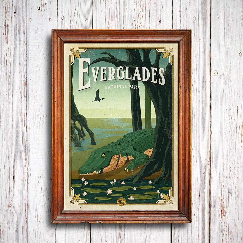 manatee_alligator_love_story_everglades_poster_national_park_quest_framed