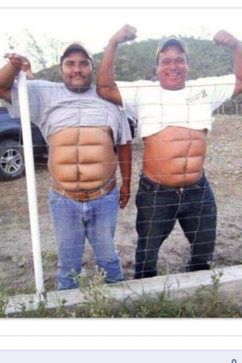 Kevin and Cleatus surpised their wives with Superman six pack surgery. Looking good, fellas!