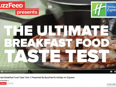 picture showing the beginning of the Ultimate Breakfast Food Taste Test from Buzzfeed/Holiday Inn Express