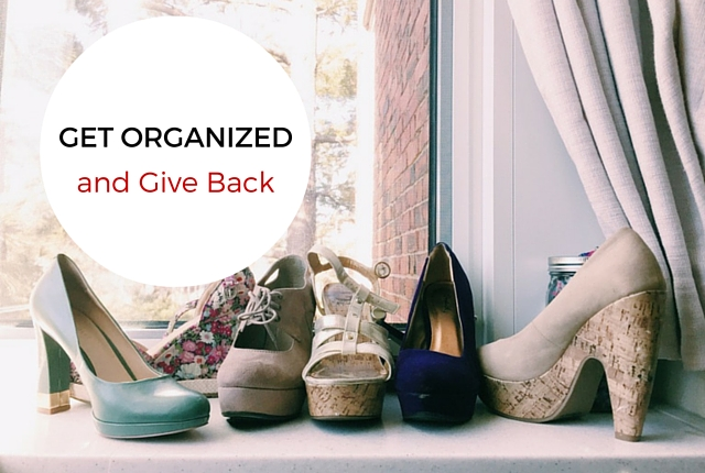 get organized and give back, goodwill, shoes