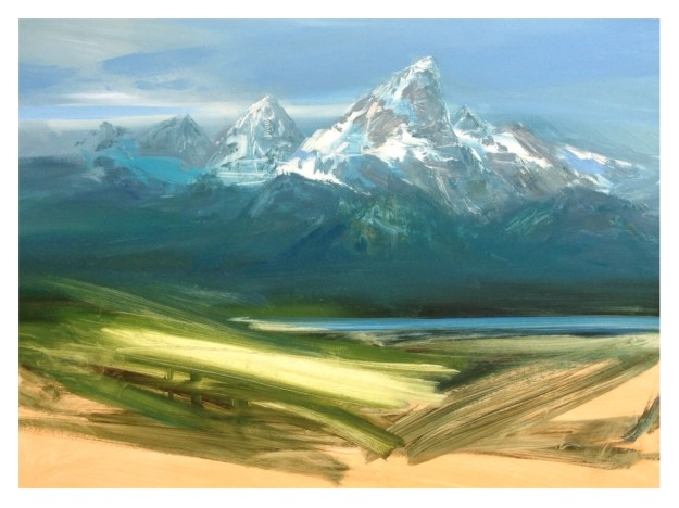 Teton Work in Progress, 80x60cm