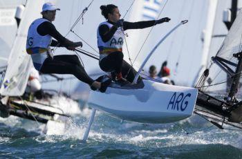 Lange y Carranza le dieron el oro a la Argentina en Nacra 17