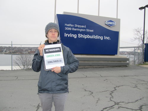 Tamara Lorincz protesting at the Halifax Shipyward. Photo by Chelsea Gutzman.