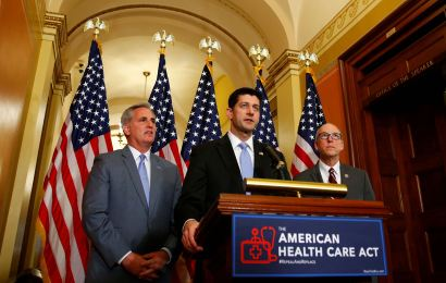 (L-R) U.S. House Majority Leader Kevin McCarthy, U.S. House Speaker Paul Ryan, and  U.S. Representative Greg Walden hold a news conference on the American Health Care Act on Capitol Hill in Washington, U.S. March 7, 2017. REUTERS/Eric Thayer - RTS11VMP