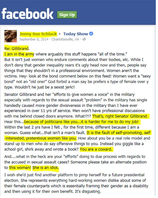 Facebook post to Gillibrand