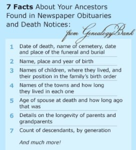 7 facta re newspapers obituaries from GenealogyBank.