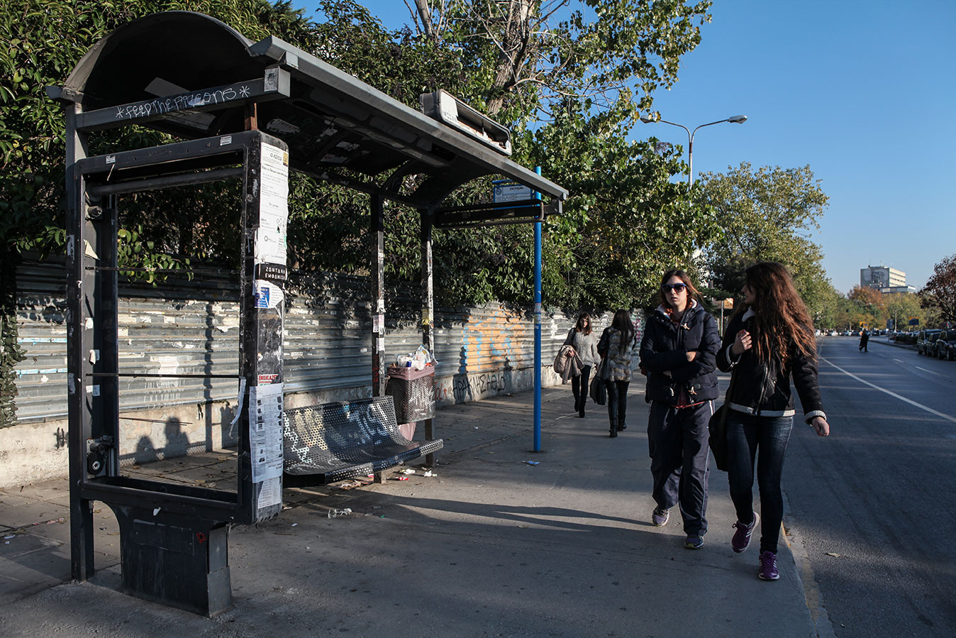 A crumbling bus shelter: one of the many scars left by the violent anti-austerity demonstrations that rocked Thessaloniki in the recent past. Due to the drastic drop in public advertisement revenues, the city is unable to maintain or replace any public property.
