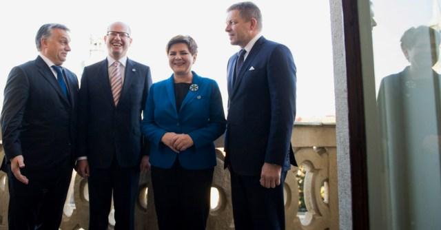 A meeting of the Visegrad group, Viktor Orban, Bohuslav Sobotka, Beata Szydło, Robert Fico