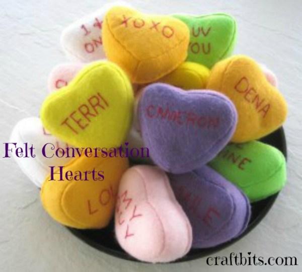 Embroidered Felt Conversation Hearts