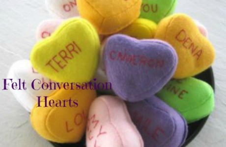 Embroidered Felt Conversation Hearts