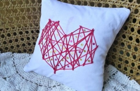 DIY Embroidered Heart Cushion