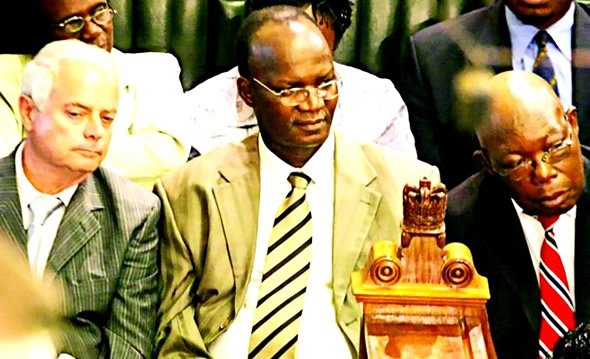 Jonathan Moyo (Centre) in Parliament