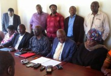 Glum Faces: MDC Renewal Team leadership at a press conference in Harare this week