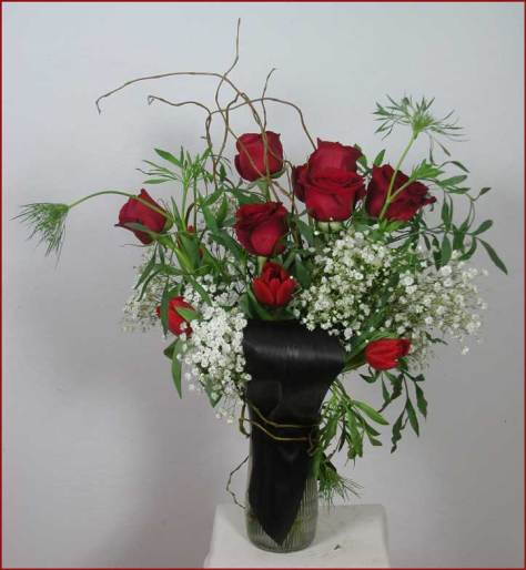 Valentine Arrangement with red roses, tulips,