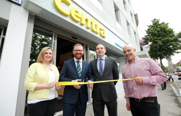 Minister Simon Hamilton (second from left) at the official opening of Centra Cathedral Quarter store with owners Donagh (far right) and Orla McGoveran (far left) along with Michael McCormack, Musgrave NI managing director