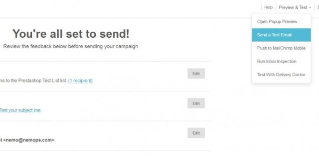 Send the email marketing newsletter with Mailchimp