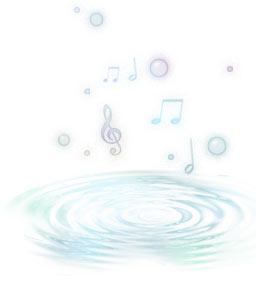 湧き出るような波紋と音符(5パターン)
