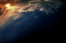 空とかすみ雲の写真素材