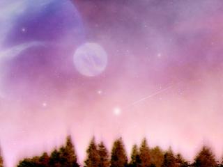 並木と惑星(4パターン)