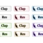 羽根がワンポイントのweb拍手ボタン(透過GIF)(6パターン)