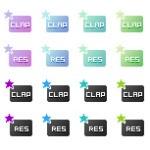 星が点滅するweb拍手ボタン(GIFアニメ)(透過GIF)(32パターン)